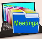 Meetings Folders Laptop Means Talk Discussion Or Conference