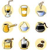 Nine coffee icons