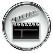 movie clapper board icon grey