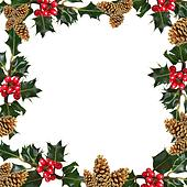 Holly Leaf and Pine Cone Frame