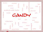 Candy Word Cloud Concept on a Whiteboard