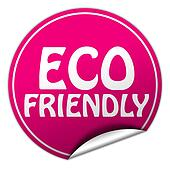 ECO FRIENDLY round pink sticker on white background