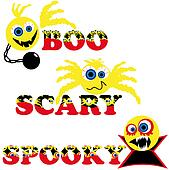three scary halloween smileys with text