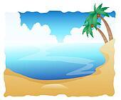 Beautiful Beach with Palm Trees