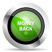 money back icon, green button
