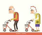 Elderly people with walkers