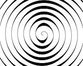 Detail of a black spiral on white background