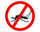 Prohibition sign for mosquitos on white background