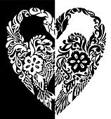 black and white swans from flowers, leaves and curls, in the form of heart