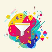 Funnel on abstract colorful spotted background with different elements. Flat design.