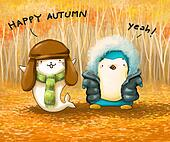 penguin and seal in autumn leaves cartoon illustration