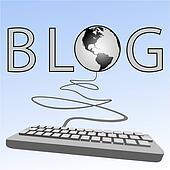 Blogging computer keyboard blogs to earth Western Blogosphere