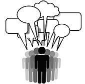 Social Network Media people group speak speech bubbles