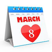 3D Women's Day Calendar, 8 March
