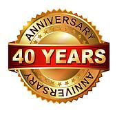 40 years anniversary golden label with ribbon.
