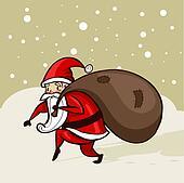 Santa sneaking in the snow