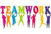 Teamwork concept with colored women and men silhouettes jumping