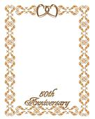 Wedding invitation border gold 50th