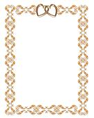 Wedding invitation border gold hearts