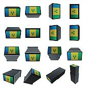st vincent & the grenadines flags 3D Box with  mesh texture