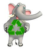 fun  Elephant cartoon character with recycle