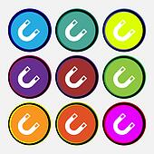 magnet, horseshoe icon sign. Nine multi-colored round buttons.