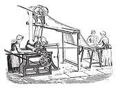 Machine to print the tarot, vintage engraving.