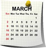 2014 paper calendar for March