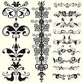 Decorative shape with floral elements