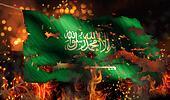 Saudi Arabia Burning Fire Flag War Conflict Night 3D