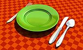 knife, fork, spoon and plate with table coth