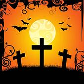 Halloween Graveyard Represents Trick Or Treat And Afterlife
