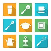 flat style white design dinnerware icons set