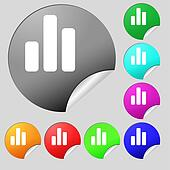 Growth and development concept. graph of Rate icon sign. Set of eight multi-colored round buttons, stickers.