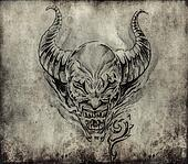 Tattoo art, sketch of a devil over vintage background