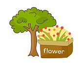 A tree with flower pot