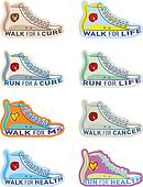 Shoe illustrations for various charities