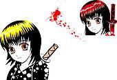 Young girl in manga style