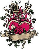 vintage fancy heart and rose emblem