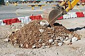 Caterpillar digging at a construction site