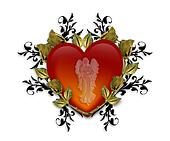 Guardian Angel Red Heart 3D Graphic
