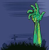 Zombie hand coming out the ground illustration