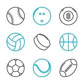 Simple trendy sport icons set