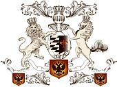 Heraldic design with lion, horse  and shield