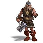 mighty fantasy dwarf with a hammer