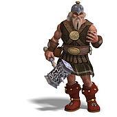 mighty fantasy dwarf with a hammer