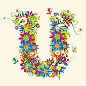 Letter U, floral design. See also letters in my gallery