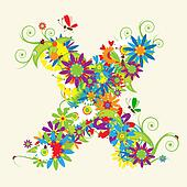 Letter X, floral design. See also letters in my gallery
