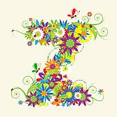 Letter Z, floral design. See also letters in my gallery