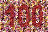 thousands of photos make the mosaic picture of the number 100